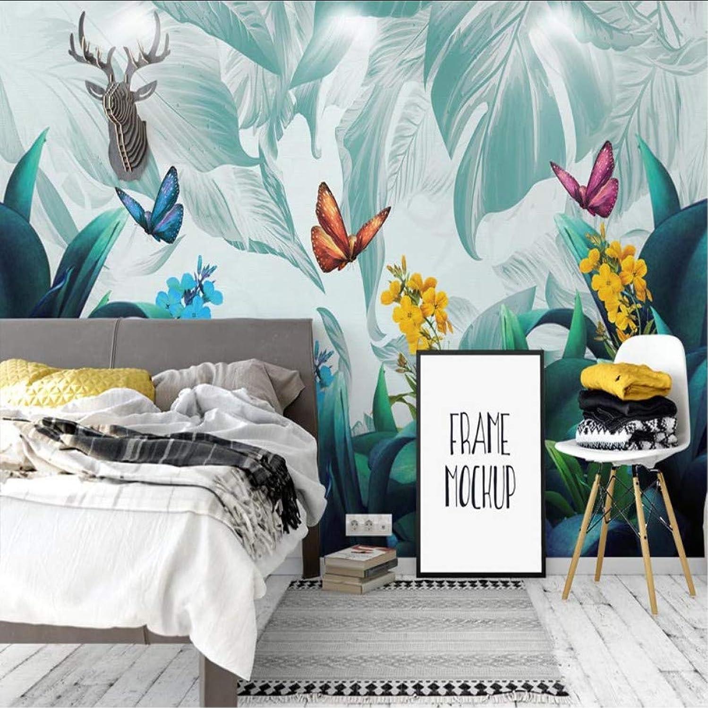 para mayoristas Syssyj Papel Papel Papel Tapiz Fotográfico Pintado A Mano Plantas Tropicales Pintado Mural 3D Sala De Estar Dormitorio Telón De Fondo Pintura De Parojo-200X140CM  ventas en linea