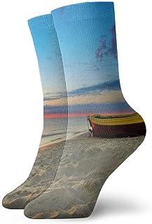 Pengyong, Pengyong Sunset Boat Beach calcetines informales transpirables para correr, entrenar y caminar para hombres y mujeres