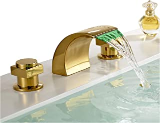 Rozin Gold Polished Waterfall Widespread Bathroom Basin Faucet with LED Light