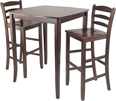 Winsome Inglewood High/Pub Dining Table with Ladder Back Stool, 3-Piece