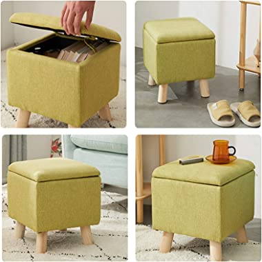 LIXIONG Ottoman, Cube Upholstered Storage Seat with Hinged Lid and Pine Legs Padded Footrest Stool for Hallway Living Room, 5