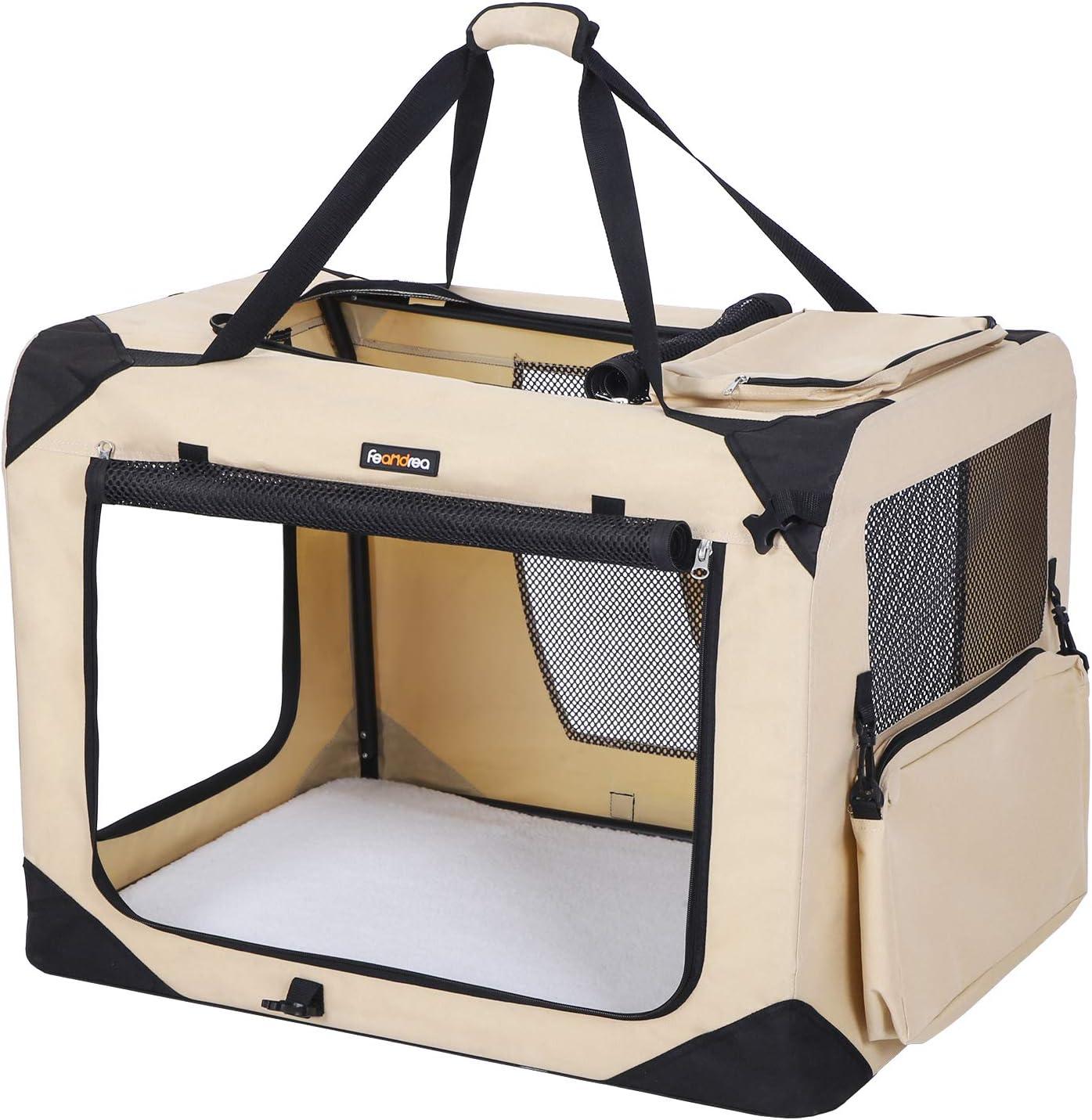 FEANDREA Bolsa de Transporte para Mascotas Transportín Plegable para Perro Portador Tela Oxford Beige M 60 x 40 x 40 cm PDC60W