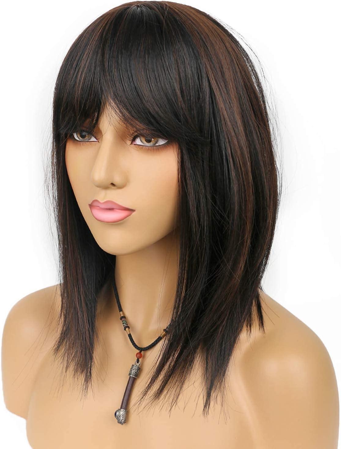 Pelucas de longitud media larga recta con flequillo natural negro mezcla ligera castaño sintético pelucas con flequillo limpio para mujeres fiesta uso diario