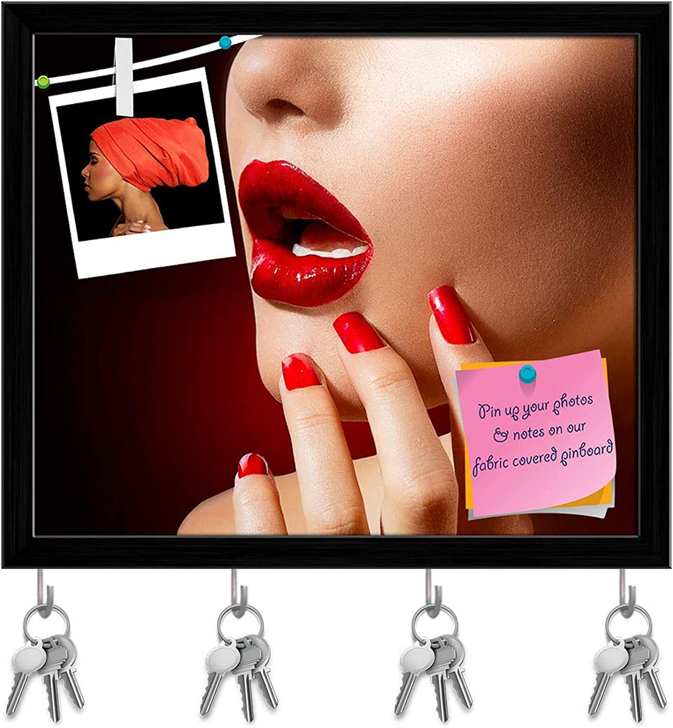 Artzfolio Red Lips & Nails Key Holder Hooks   Notice Pin Board   Black Frame 19.1 X 16Inch