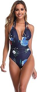 Traje de Baño de Una Pieza Mujer - Sexy Cuello en V Mujer Bikini Push Up Monokini para Playa