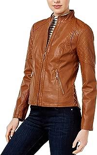 Women's Faux-Leather Corset Jacket Cognac Small