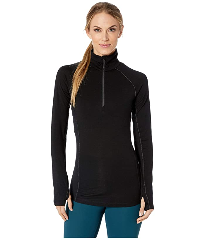 Icebreaker 150 Zone Merino Baselayer Long Sleeve 1/2 Zip (Black/Mineral) Women