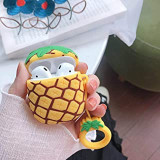 Cute airpods Cover, AKXOMY Airpods Skins Cute Cartoon Fruit Silicone Earphone Case Cover Protective Clip Skin for AirPods 1&2 (Pineapple)
