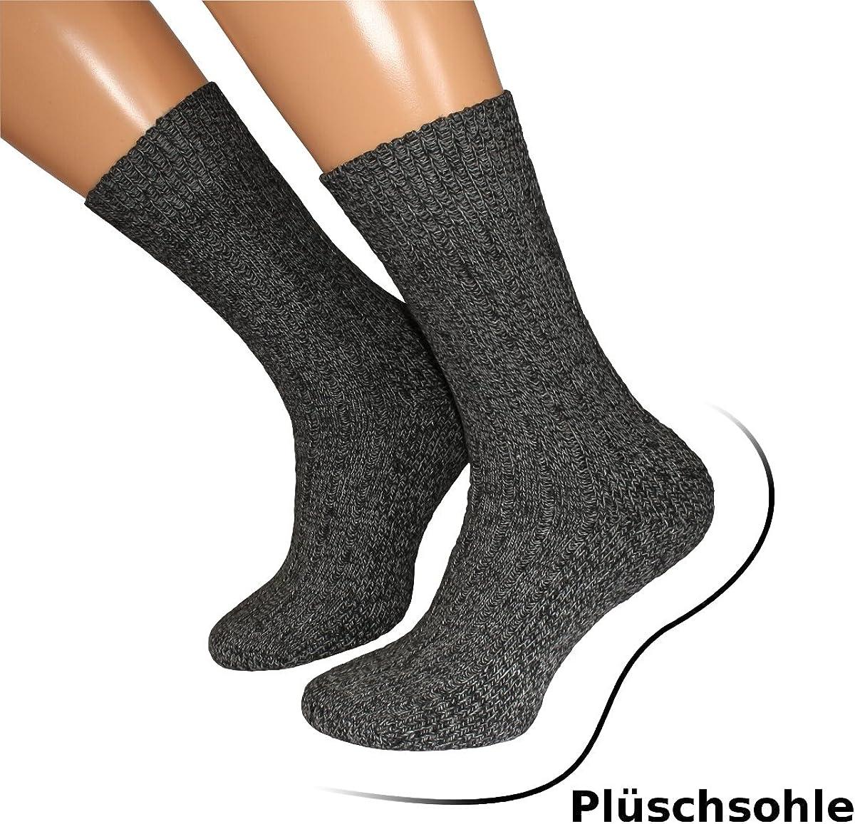 3 Paar  Herren Damen Winter Wellness Socken Plüschsohle Strümpfe mit Wolle 6549