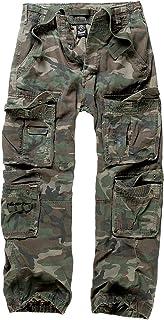 Brandit Pure Vintage Trousers Uomo Pantaloni Modello Cargo Mimetico Bosco vestibilità Abbondante