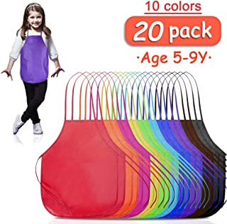 B.SHINE Kids Artist Apron – 20 Pack 3 Sizes, for Age 3 to 5, 5 to 9, 9 to 14, Children's Apron for Painting, Cooking, Baking, Craft Project, Party and School Activity (Assorted, 5-9Y)