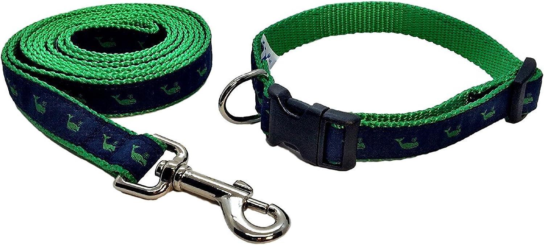 Preston Kelly Green Whale on Navy Dog Collar and Leash Set Navy bluee Ribbon on Green Nylon Webbing (Extra Small) by Preston Inc