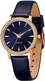 Sponsored Ad - SURVAN WatchDesiger Japanese Quartz Fashion Waterproof Wrist Watch for Women Crystal Dial Leather Strap