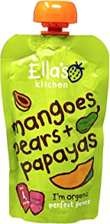 Ella's Kitchen Organic Puree, Mangoes, Pears And Papayas, 120g (Pack of 1)
