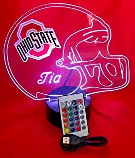 Ohio State Buckeyes NCAA College Football Helmet Personalized Bucks University Light Up Lamp Table Lamp LED, Our Newest Feature - It's Wow, with Remote 16 Color Options, Free Engraving, Great Gift