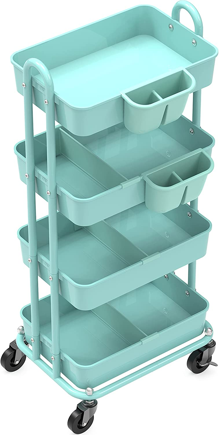 SimpleHouseware 4-Tier Multifunctional Rolling Utility Cart with Basket Dividers and Hanging Buckets, Turquoise: Kitchen & Dining