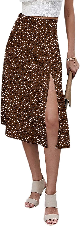 Milumia Women Casual Polka Dot Print High Waist Vacation Split Hem Midi Skirt