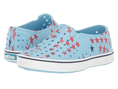 Native Kids Shoes Miles Print (Toddler/Little Kid) (Sky Blue/Shell White/Little Star) Kids Shoes