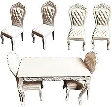 7Pcs Miniatuur Eettafel Stoel Set Plastic Meubilair Model Speelgoed Voor 1: 6 Poppenhuis Decor Mini Tafel Stoelen Model Ki...