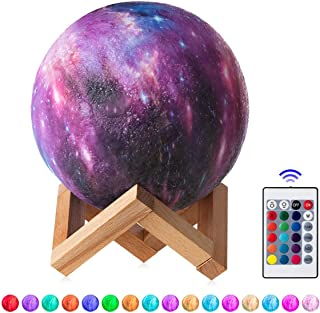 Konesky 5.9inch Planet Star Moon Shaped Table Lamp, 16 Colors Changing USB Led Remote Control Touch Senosr Night Light with Base Bedroom Decor Gifts