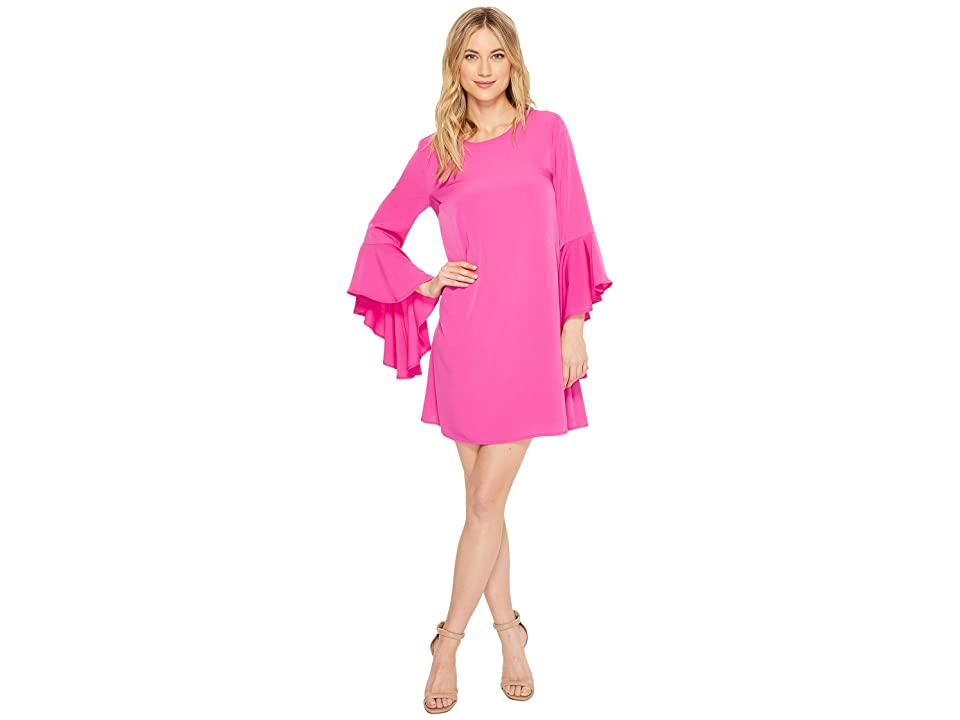 CeCe Ashley Bell Sleeve Shift Dress (Fuchsia Pop) Women