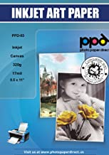 PPD Inkjet Canvas 100% Real Printable Cotton LTR 8.5 x 11 92lbs. 340gsm 17mil x 10 Sheets..