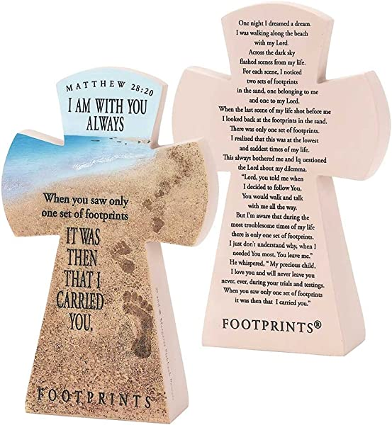 Dicksons Matthew 28 20 Always With You Footprints 7 5 Inch Resin Stone Table Top Cross Figurine