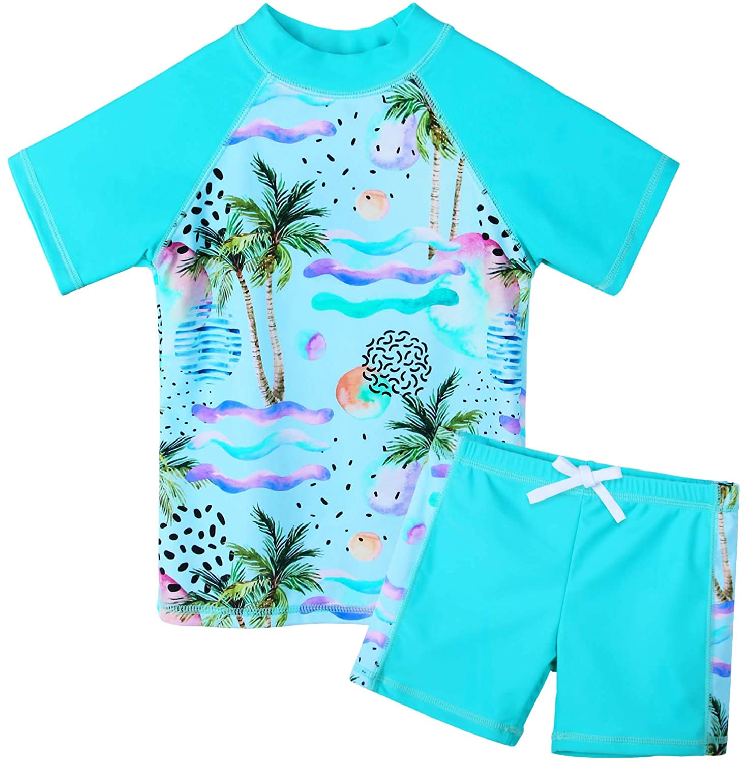 OFFicial mail order Girls Two Piece Swimsuit Floral UPF Set Rapid rise Swim 50+ Guard Rash Kids