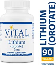 Vital Nutrients - 100% Elemental Lithium (Orotate) 5 mg - Supports Mental and Behavioral Health - Gluten Free - 90 Vegetarian Capsules per Bottle