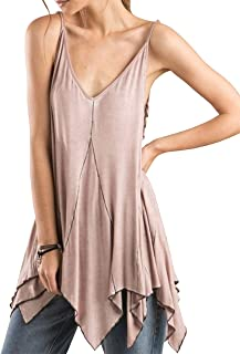 Women's Strappy Side Detailed Tank Top with Pointed Hem