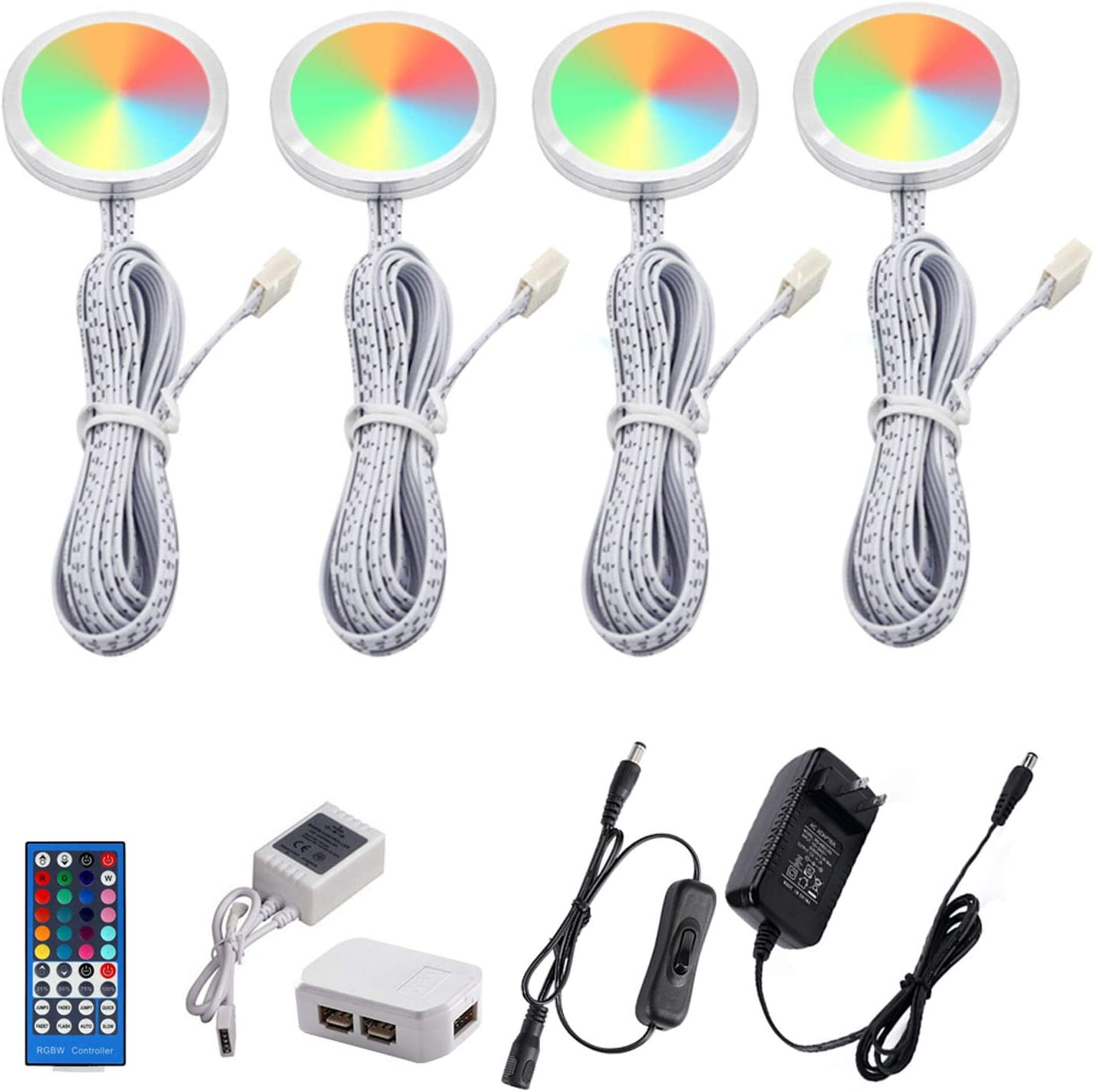 Buy Aiboo Rgbww Rgb Warm White Color Changing Christmas Xmas Under Cabinet Led Lights Kit Rf Remote Puck Lights For Kitchen Counter Shelf Furniture Ambiance Lighting Rgbww 4 Lights 12w Online