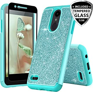 TJS Case for LG Aristo 2/Aristo 2 Plus/Aristo 3/Aristo 3 Plus/Tribute Dynasty/Tribute Empire/Fortune 2/Rebel 3 LTE [Full Coverage Tempered Glass Screen Protector] Glitter Girls Women Phone (Teal)