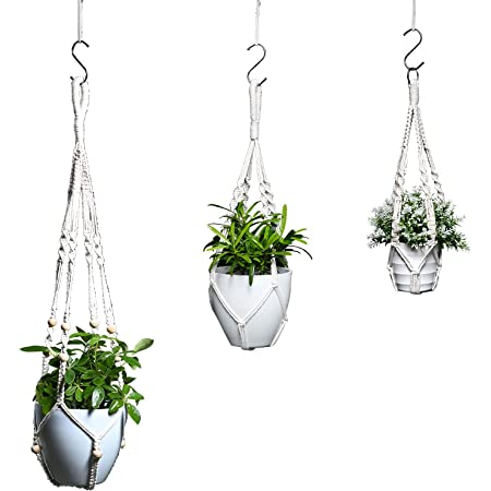 Details about  /Gift Pot Holder Hanging Basket Handcrafted Braided Macrame Cord Plant Hanger S2