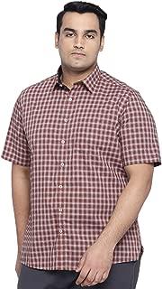 All Men's Checkered Regular Fit Casual Shirt (1001883280_Orange_48 cm_Orange_3)