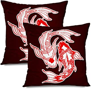 Ahawoso Set of 2 Throw Pillow Covers Square 20x20 Koi Black Carp Style Design Yin Water Yang Symbol Chinese Shui White Feng Graphic Animals Wildlife Zippered Pillowcases Home Decor Cushion Cases