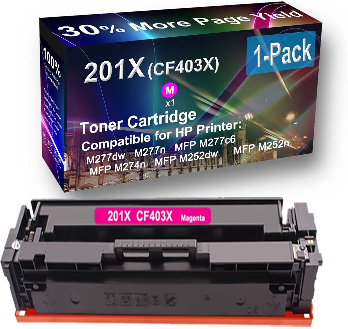 1-Pack (Magenta) Compatible High Yield 201X (CF403X) Toner Cartridge use for HP MFP M252dw, MFP M252n Printer