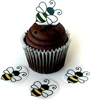 Bumble Bee Honey Wafer Paper Toppers 1.5 Inch for Decorating Desserts Cupcakes Birthday Cakes Cookies Pack of 12