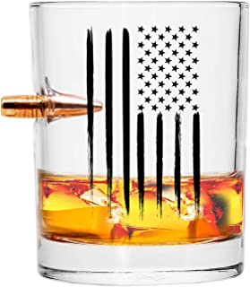 Real Projectile American Flag Old Fashion Whiskey Rocks Glass – Hand Blown Glasses – 8 Oz.