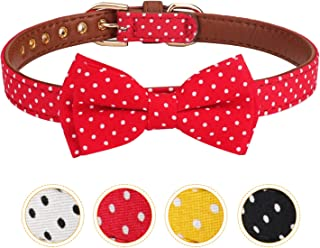 Vaburs Dog Collar with Bowtie, Bowtie Dog Collar Cute Puppy Collar Dot Dog Collar for Small Medium and Large Dogs Adjustable
