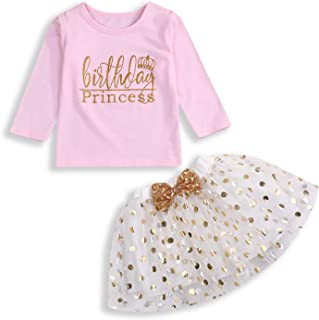 Toddler Kids Baby Girls Outfits Birthday Princess Long Sleeve Shirts Top +Dot Bubble Skirt 2PCS Fall Winter Clothes Set