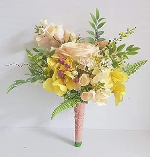 sunny flora, natural mood bouquet, silk flower, peach yellow orange green