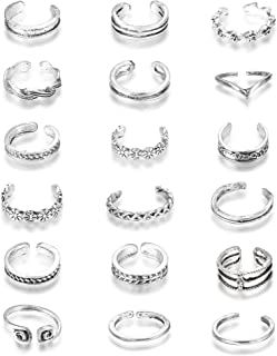 FUNRUN JEWELRY 18 PCS Knuckle Ring Open Toe Rings Set for Women Girls Vintage Retro Finger Ring Adjustable