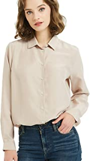 NEW DANCE Women's 100% Silk Blouse Button Down Shirts Long Sleeve Ladies Office Work Shirts 15 Momme Silk