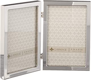 Lawrence Frames 4x6 Hinged Double Silver Standard Metal Picture Frame