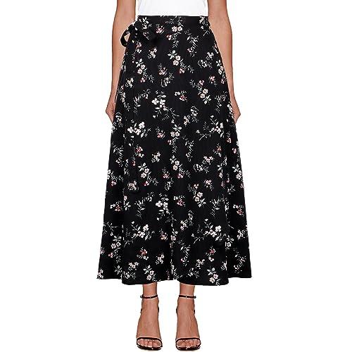 775888c4b18e6 iLover Womens High Waist Summer Beach Wrap Cover up Maxi Skirt