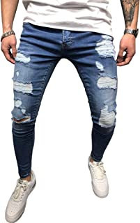 DELIMALI Men's Jeans, Boy's Ripped Hole Tight Fitting Pencil Pants Denim Trousers