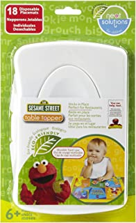 """Sesame Street Table Topper Disposable Stick-on Placemats in Travel Case, Gender Neutral, 12"""" x 18"""", 18 Count"""