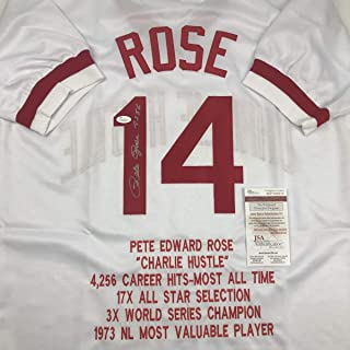 Autographed/Signed Pete Rose 4256 Cincinnati White Stat Baseball Jersey JSA COA