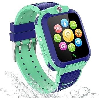 GPS Tracker Smartwatch Enfants Etanche - Montre Intelligente Téléphone pour Enfants Garçons Fille Etudiant, Montre Enfants con Appel d'urgence SOS Appareil Photo Réveil Podometre Localisation GPS