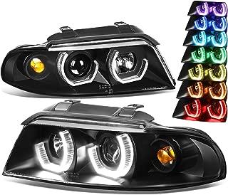 For Audi A4 B5/8D Black Housing 3D LED Halo Projector RGB Color Change Headlight + Corner Lights